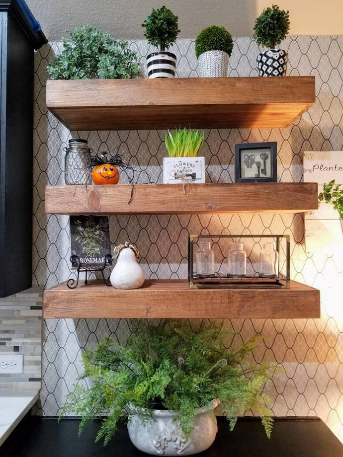 FREE SHIPPING**** | Wood Floating Shelves 12-inches Deep | Rustic Shelf |