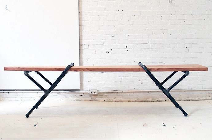 Pipe Bench | Industrial Pipe Bench | Industrial Furniture | Wood Bench | Dining