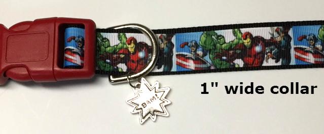 "Comic Book Heroes, Comic characters 1"" wide adjustable Dog Collar, Bam charm,"