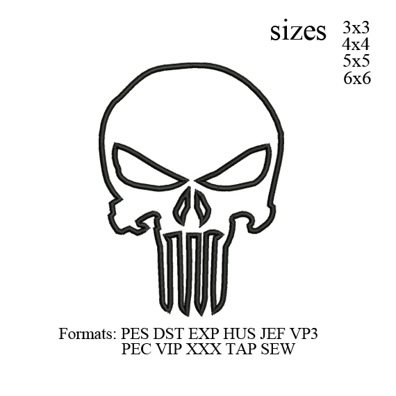 Punisher skull outline embroidery design embroidery pattern No 451 Bis V2 ... 4