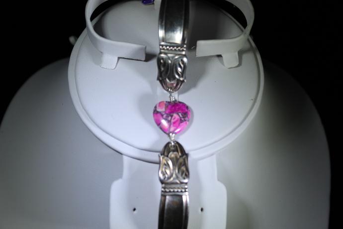 Heart shaped Sea Jasper spoon bracelet with purple shoe charm can be worn