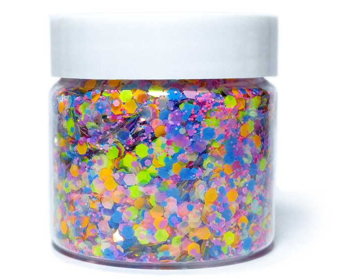 Dazzle Stackers Neon - Black Light Activated Glitter Bundle - 5 Stackable Pots