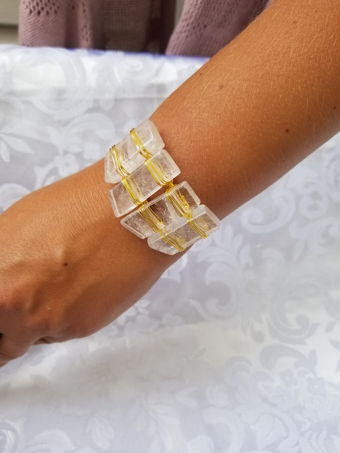 Wedding bracelets, white Agate gemstone bracelet, gold tone bangle, birthday