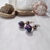 Purple Hawaiian Print Pom Pom Dangles with Purple Moonstone Rondelles and