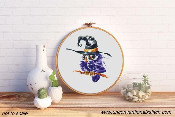 Owlet Witch cross stitch pattern