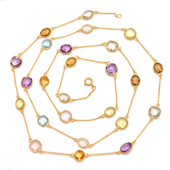 925 Sterling Silver Rose quartz ,Amethyst  Multi Color Semi Precious  Gemstone