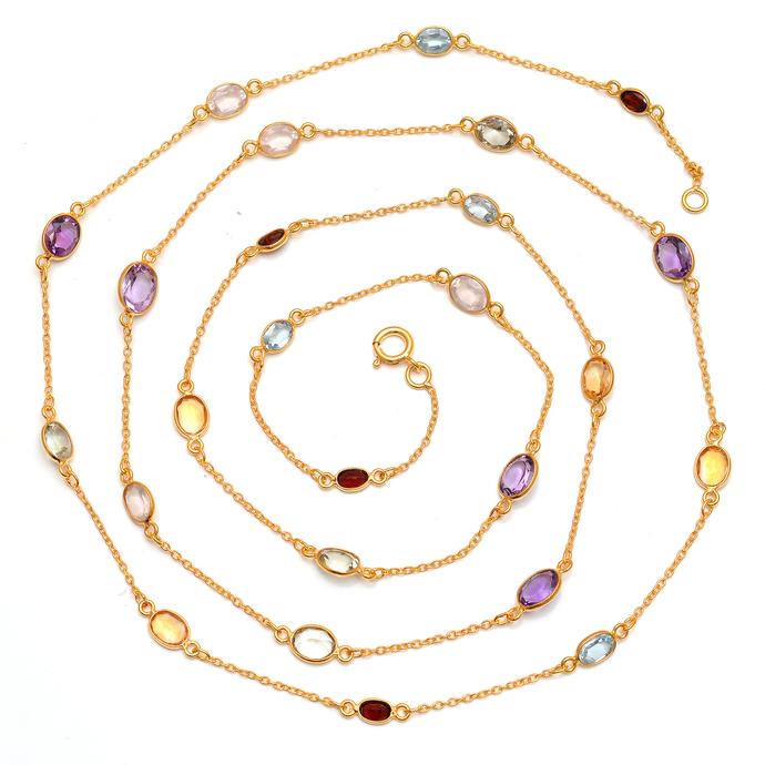 Sterling Silver Blue topaz Citrine semi Precious Gemstone Multi color Jewelry