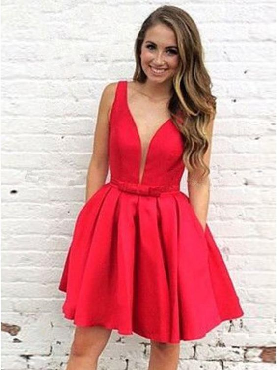Red V neck Satin Short Homecoming Dress, Red Prom Dress with Bowknot