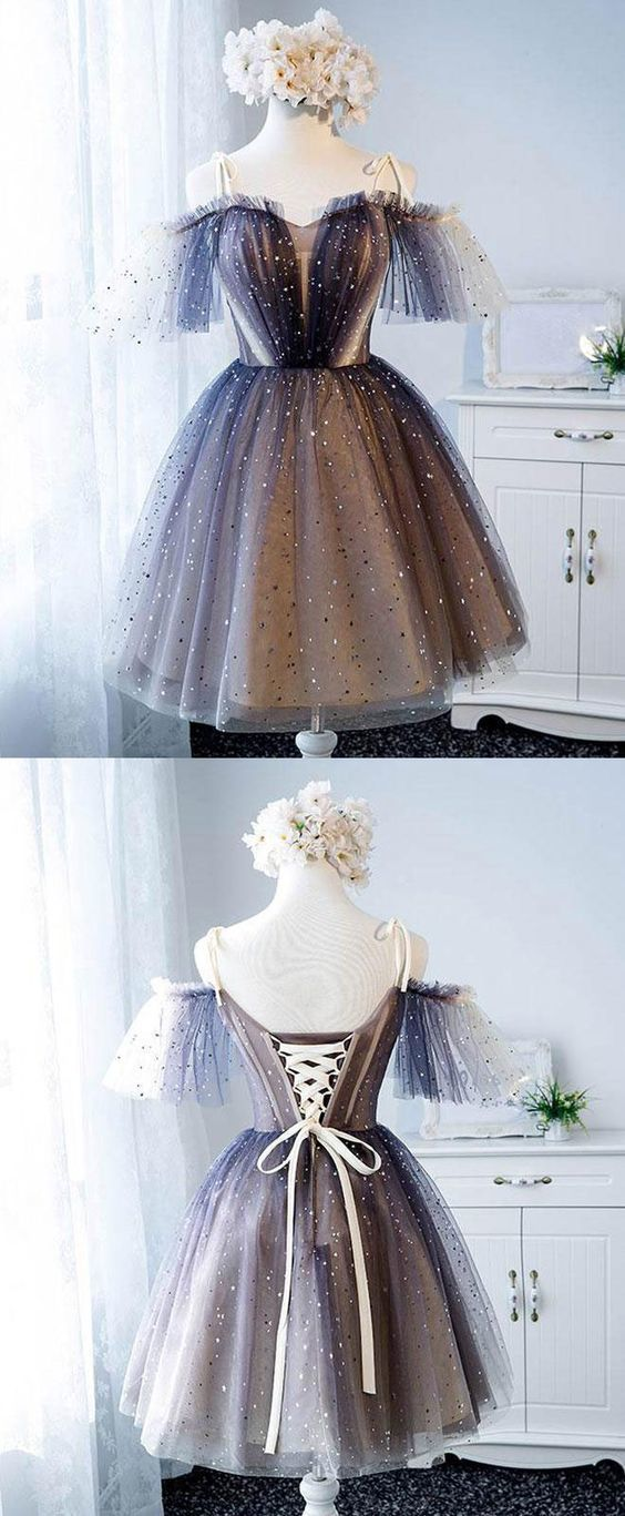 Cute tulle short prom dress, tulle homecoming dress