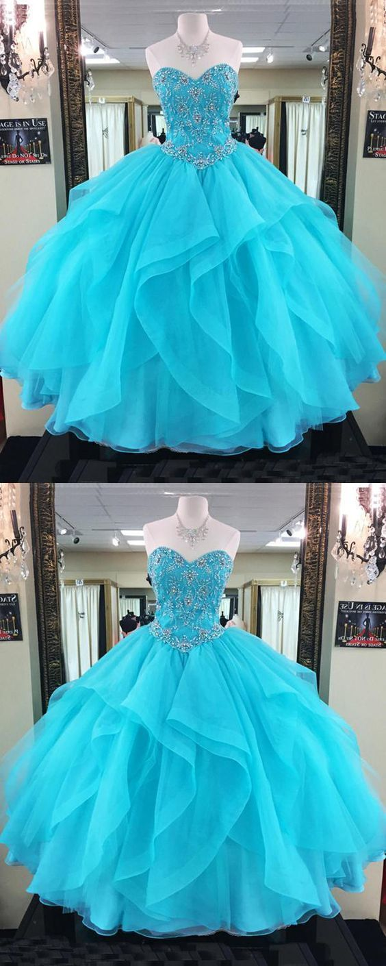 Blue Sweetheart neck Tulle Ball Gown Prom Dresses, Formal Evening Dress