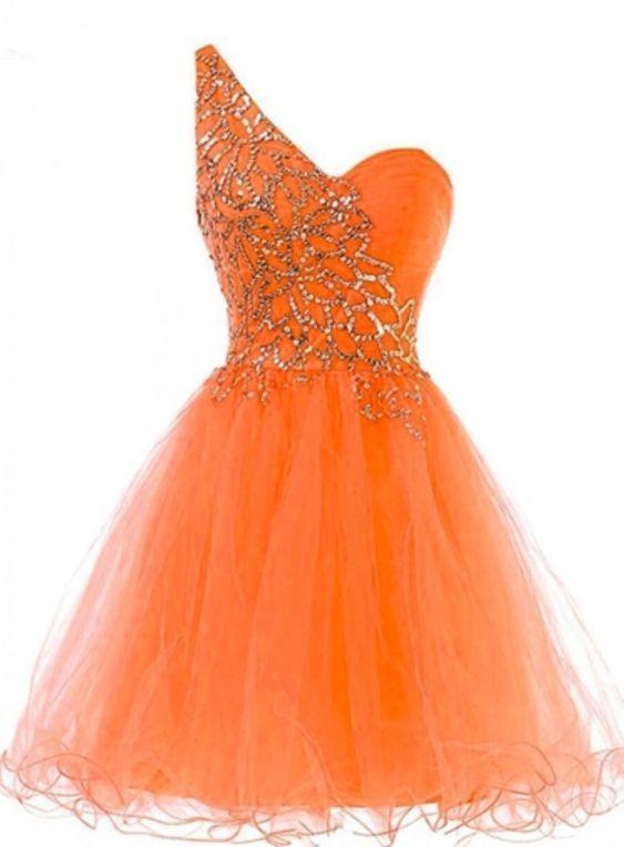 Orange A-Line One-Shoulder Beading Short Homecoming Dress