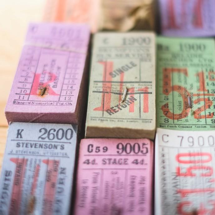 Full fat stacks of original vintage English / British bus tickets