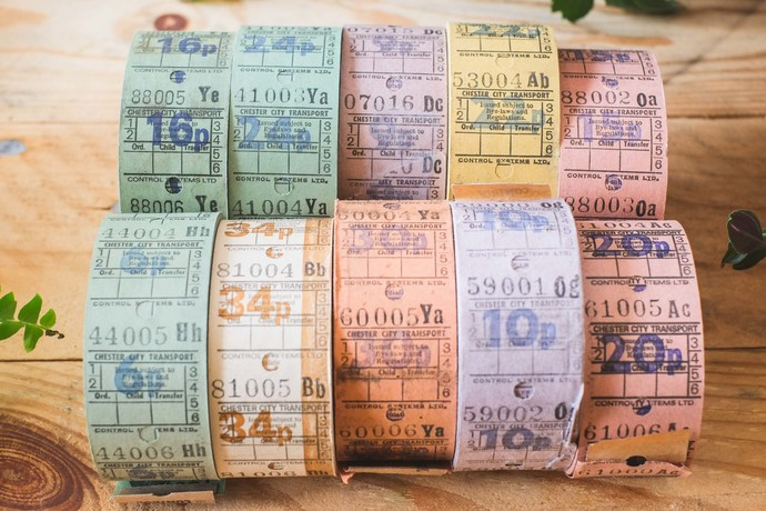 Full rolls of original vintage English / British bus tickets - 1000 tickets on