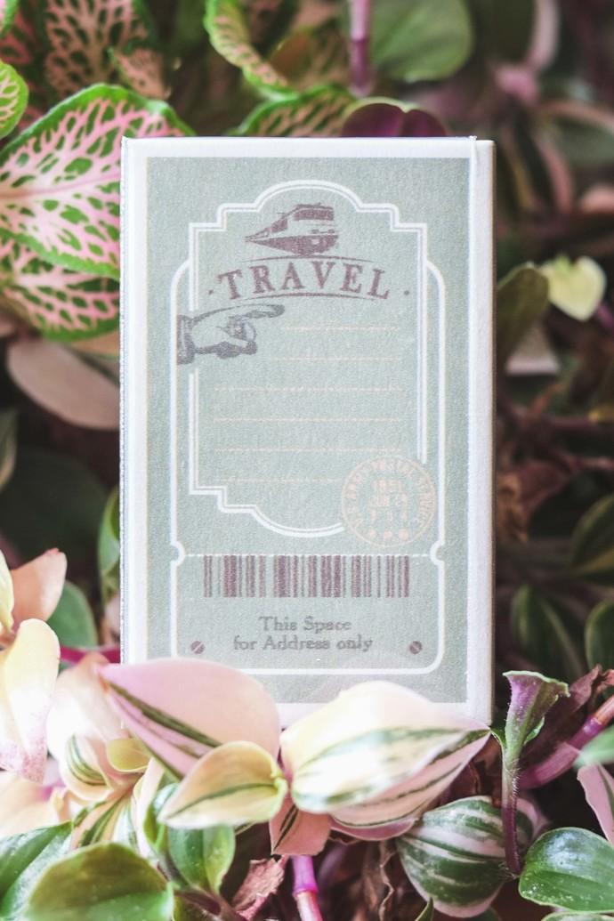 Fun & Joy wooden stamp in a cardboard sleeve box - Travel (green) - 3 x 5cm