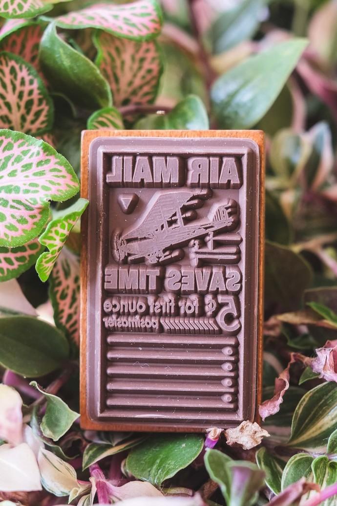 Fun & Joy wooden stamp in a cardboard sleeve box - Air Mail - 3 x 5cm
