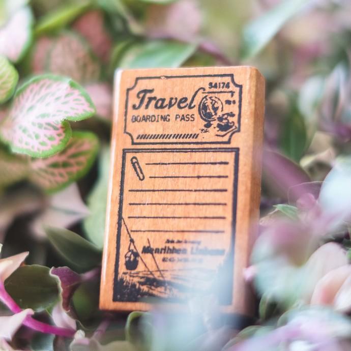 Fun & Joy wooden stamp in a cardboard sleeve box - Travel Boarding Pass - 3 x