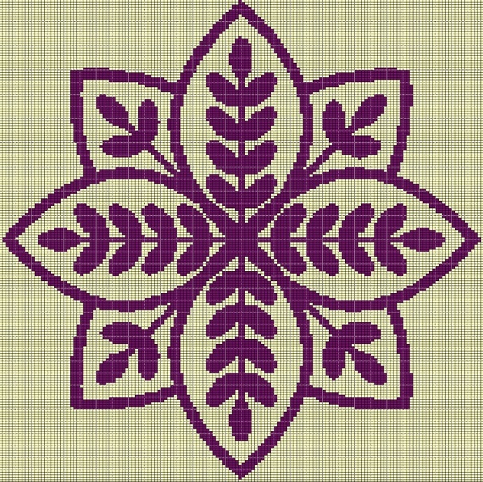 PURPLE MOSIAC TAPESTRY STYLE CROCHET AFGHAN PATTERN GRAPH