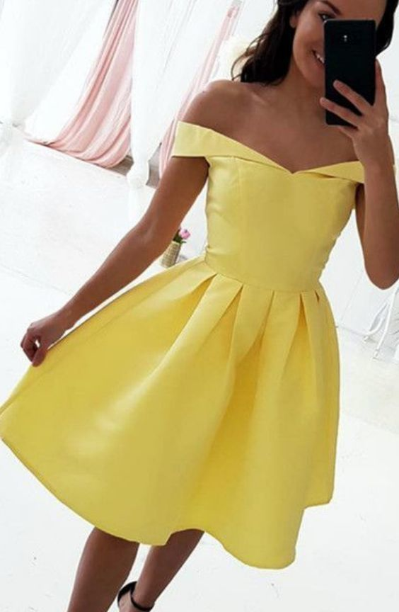 Sexy Off the Shoulder Yellow Satin Homecoming Dress, Short Prom Gowns