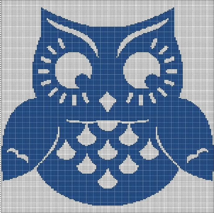 BLUE OWL CROCHET AFGHAN PATTERN GRAPH