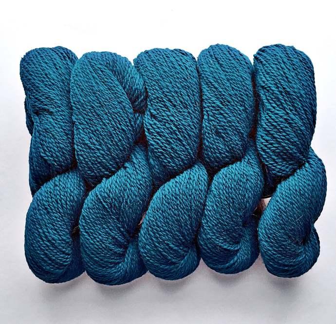Wool yarn, Peace Fleece, worsted teal, knitting yarn, peacock, Baltic Blue