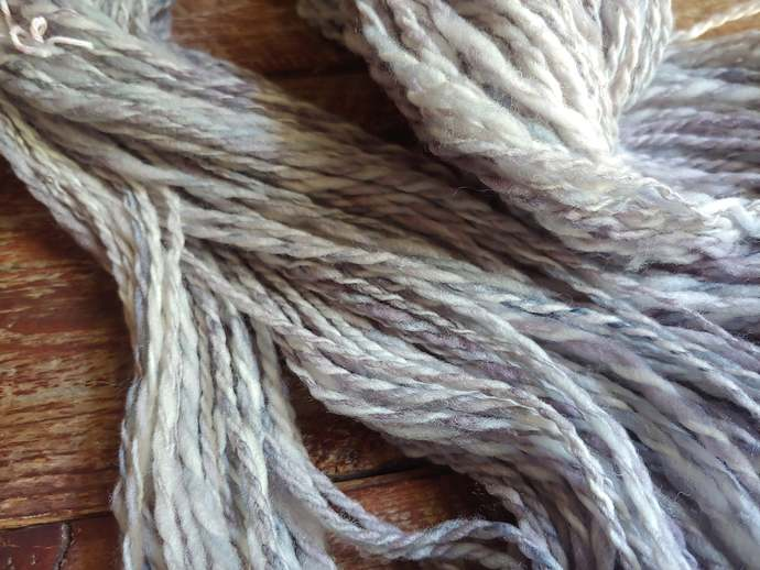 Purple hand spun Merino wool yarn