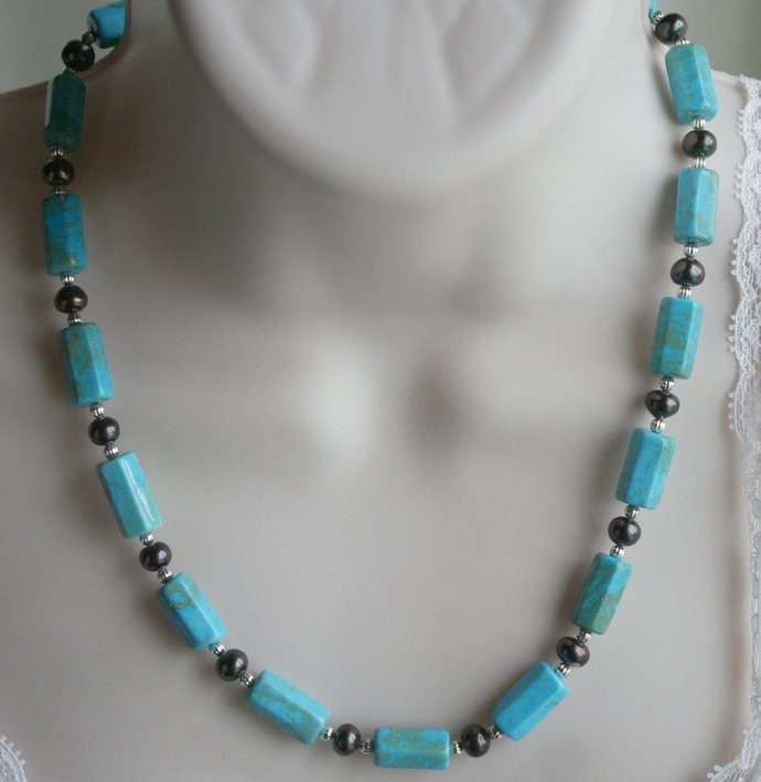 Blue Stabilized Turquoise and Tahitian Freshwater Pearl Statement Necklace,