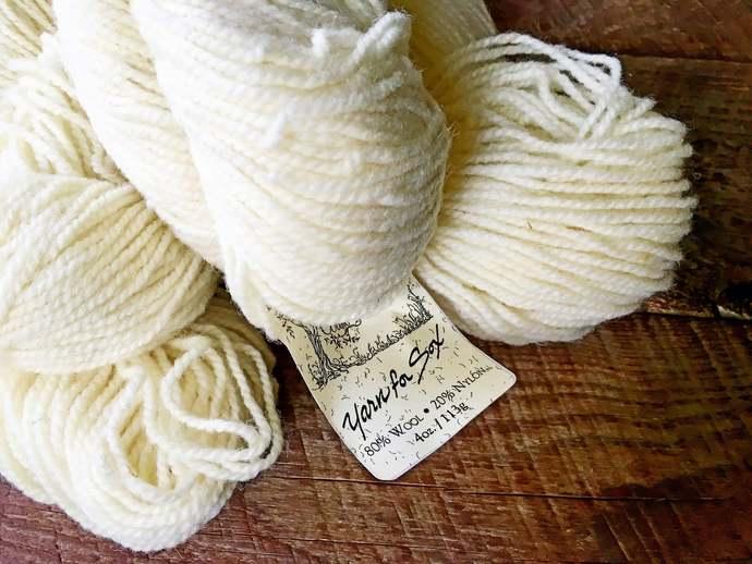 Yarn for socks - worsted weight wool sock yarn, yarn for sox, cream sock yarn,