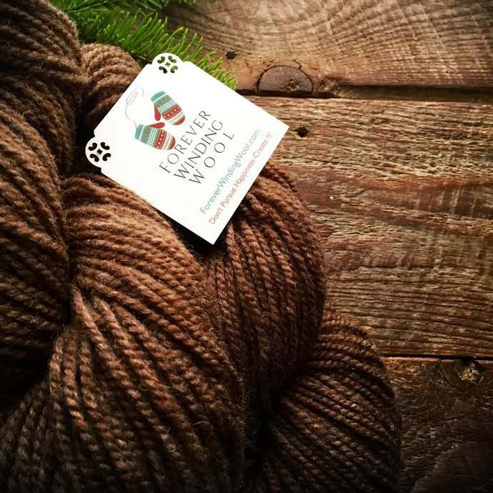 Yarn for socks - worsted weight wool sock yarn, yarn for sox, brown sock yarn,