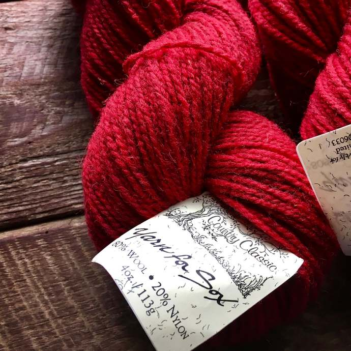 Red worsted weight yarn for socks - Wool For Sox, Red Mix
