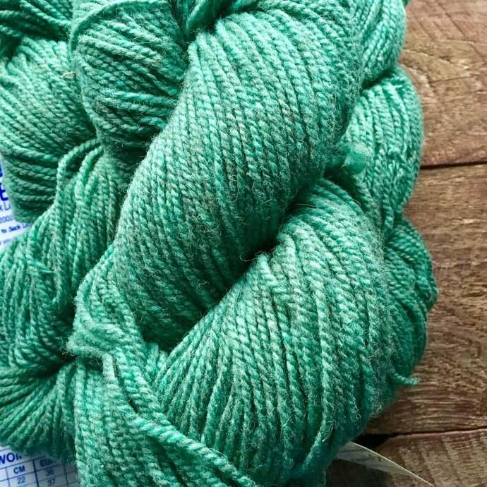 Yarn for socks - green worsted weight wool sock yarn - green mix