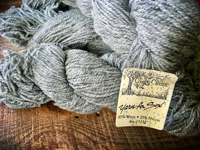 Yarn for sox - worsted weight wool for knitting socks - Smoke gray sock yarn