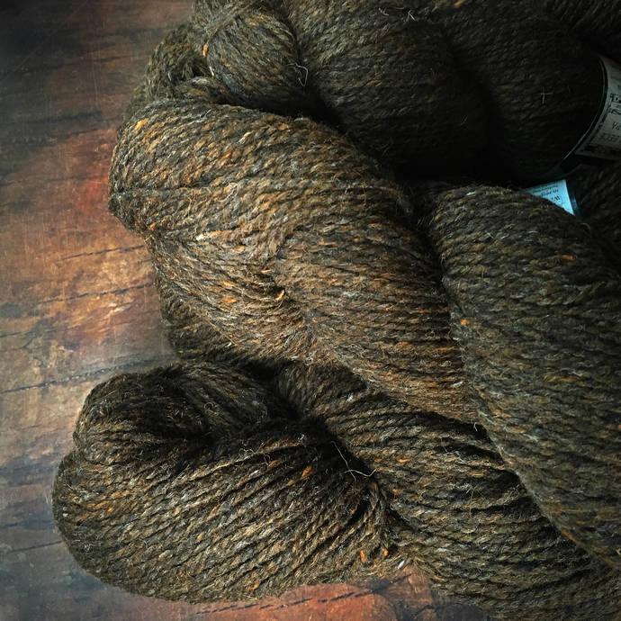 Peace Fleece Wooly Bear - brown worsted weight wool yarn, knitting yarn,
