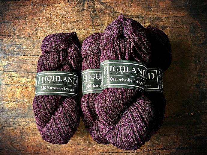 Worsted weight wool yarn - rustic wool knitting yarn, Blackberry purple