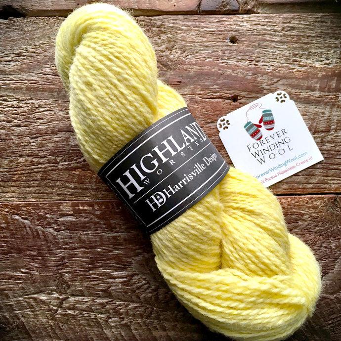 Yellow worsted weight wool yarn - Harrisville Designs Highland, Cornsilk