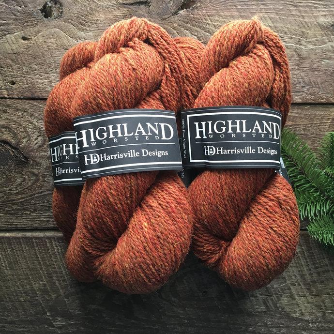 Highland worsted weight wool yarns, burnt orange brown - Topaz Lot#2245