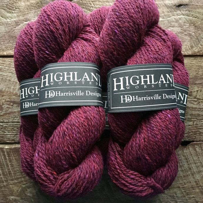 Wool yarn - Highland worsted weight knitting or crocheting yarn - Garnet