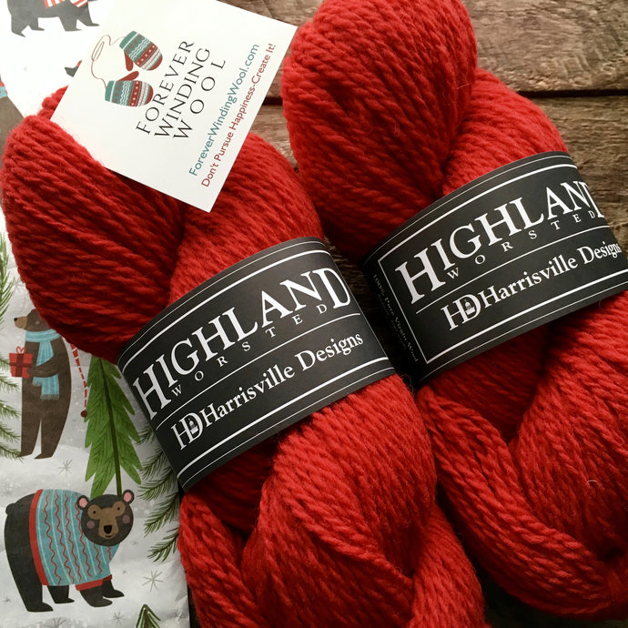 Red wool yarn - Highland worsted weight knitting or crocheting yarn