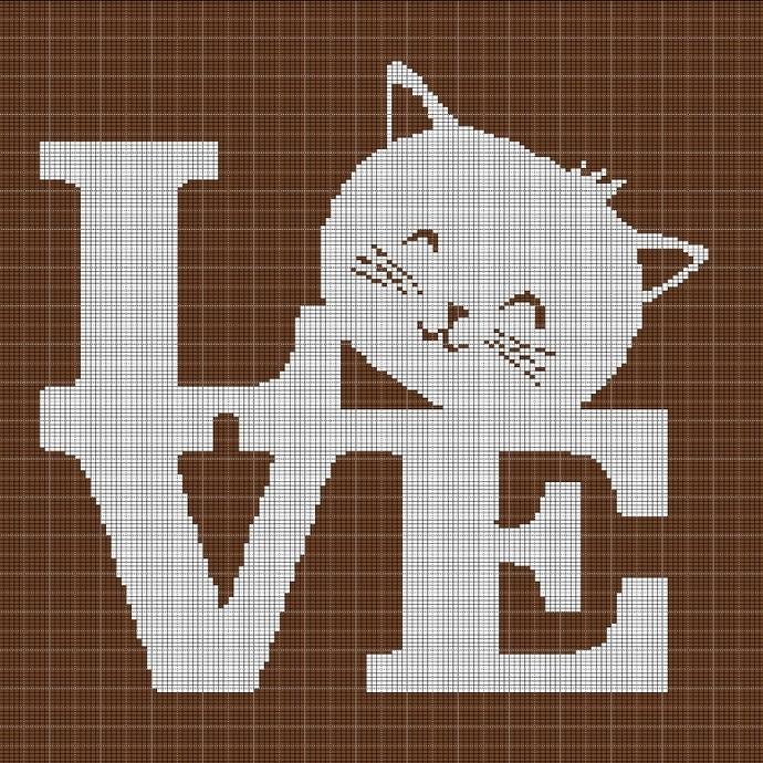 LOVE CAT 2 CROCHET AFGHAN PATTERN GRAPH