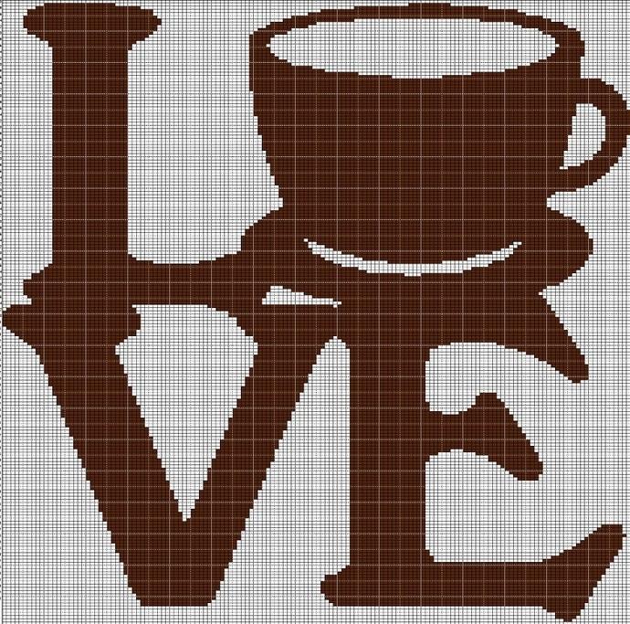 LOVE COFFEE CROCHET AFGHAN PATTERN GRAPH
