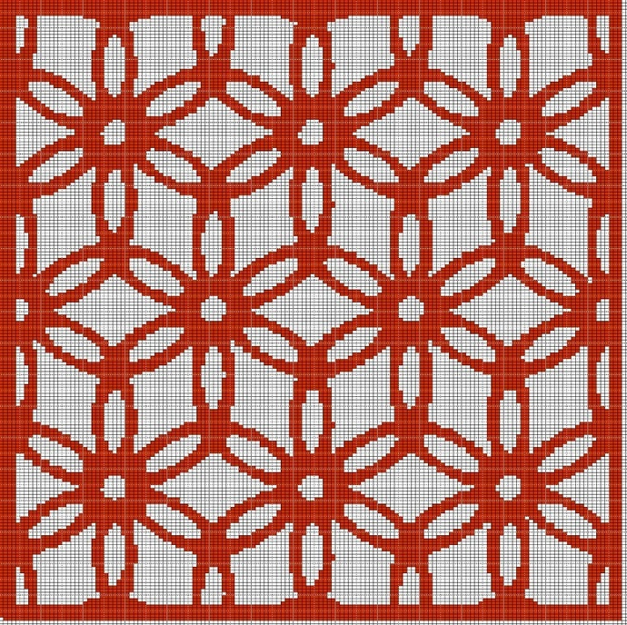 RED FLOWER MOSAIC TAPESTRY STYLE CROCHET AFGHAN PATTERN GRAPH