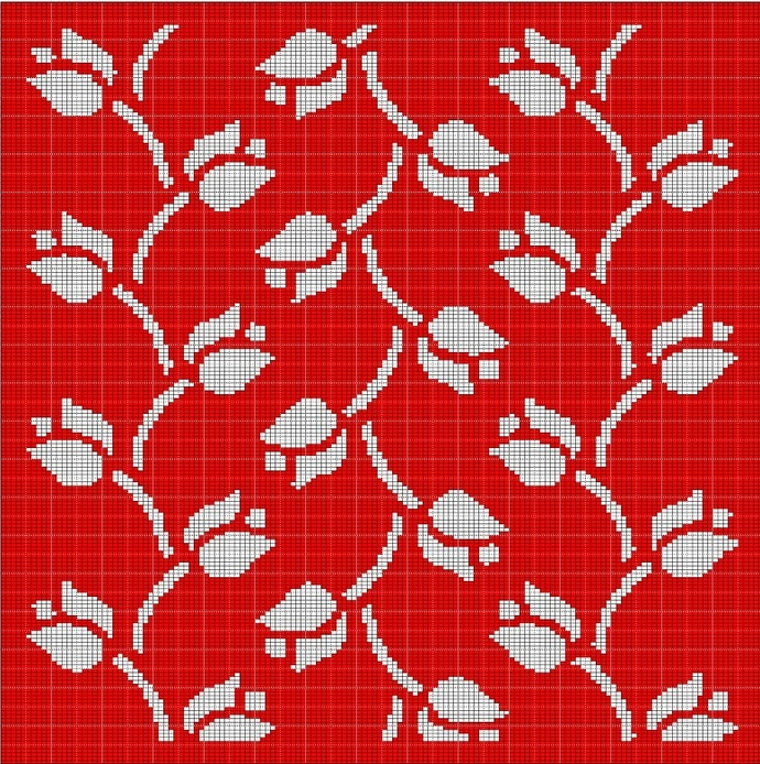 RED TULIP MOSAIC TAPESTRY STYLE CROCHET AFGHAN PATTERN GRAPH