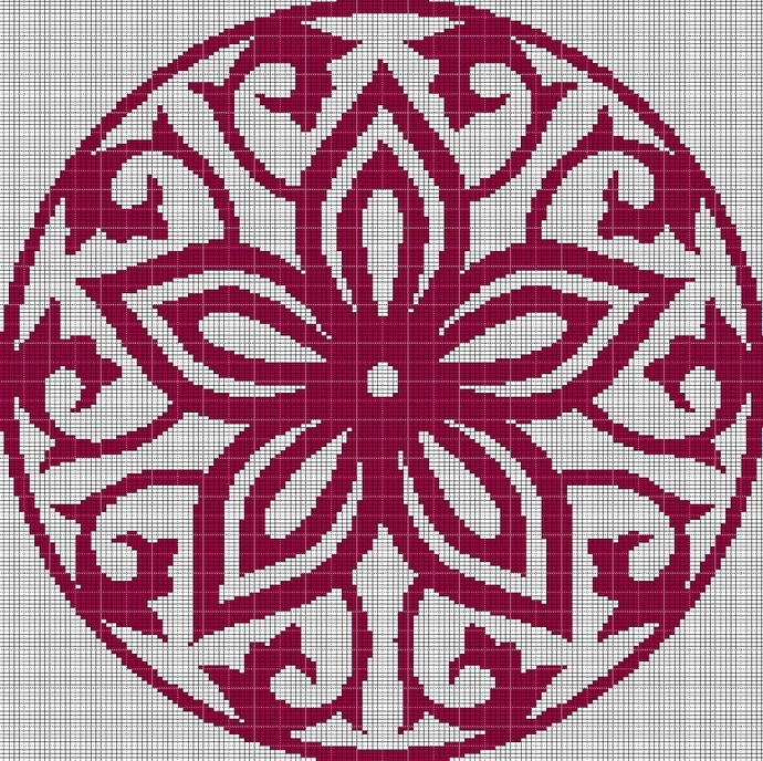 RED-DEEP MOSAIC TAPESTRY STYLE CROCHET AFGHAN PATTERN GRAPH