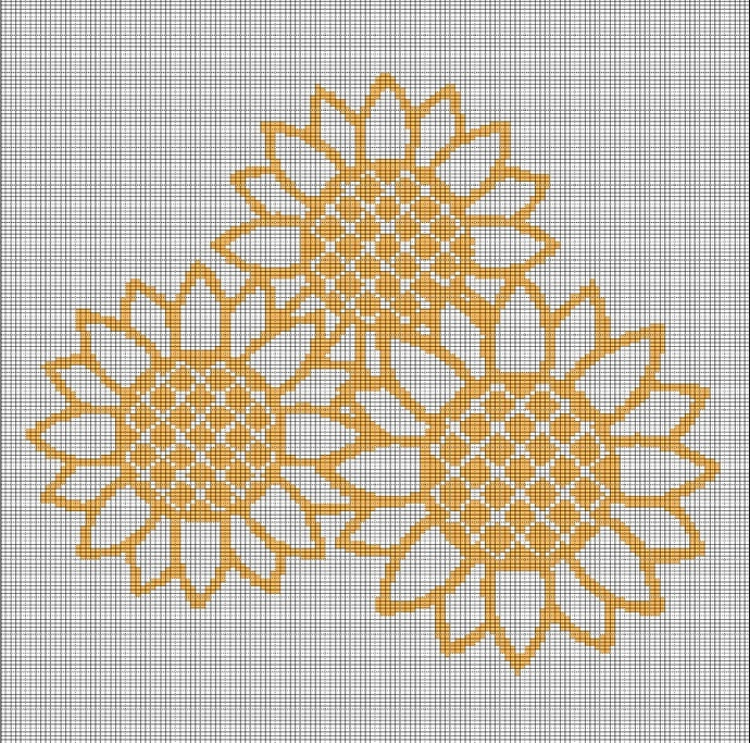SUNFLOWERS CROCHET AFGHAN PATTERN GRAPH