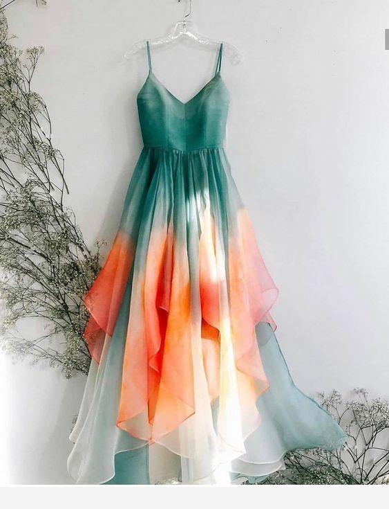 Spaghetti Straps Prom Dress,long prom dress, evening dress,prom dresses, G187