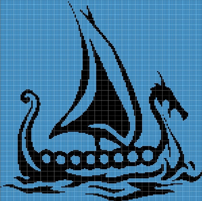 VIKING SHIP CROCHET AFGHAN PATTERN GRAPH