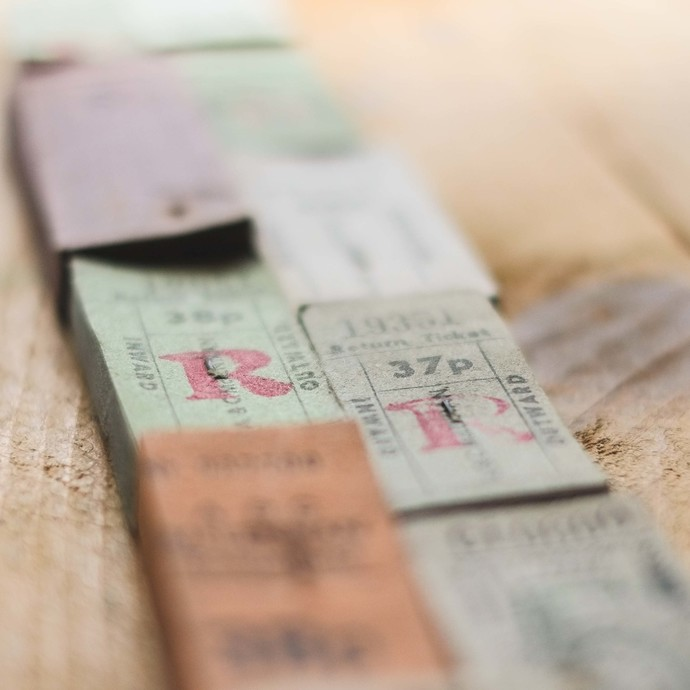 Full stacks of original vintage English / British bus tickets