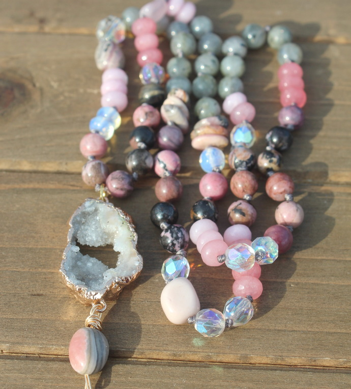 Integration Long Beaded Necklace with Pendant Rhodochrosite & Druzy Jewelry