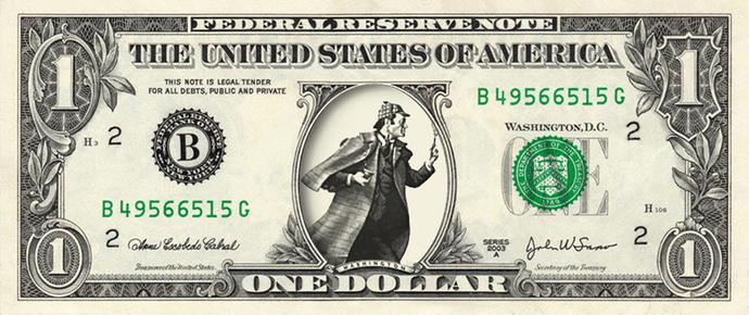 SHERLOCK HOLMES on REAL Dollar Bill Cash Money Memorabilia Novelty Collectible
