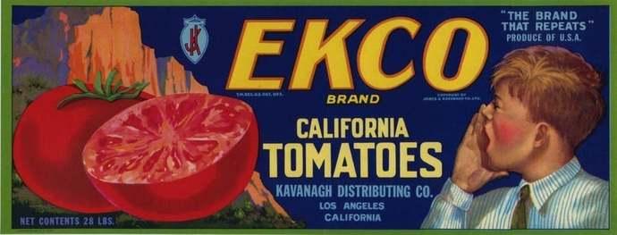 EKCO California Tomatoes crate label