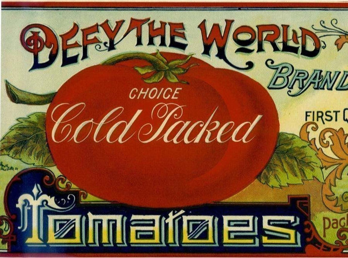 Defy the World New Jersey Tomato Can Label